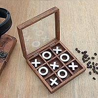Wood and aluminum tic-tac-toe game, 'Silver Strategy' (6 inch) - Handmade Wood and Aluminum Tic Tac Toe Game (6 Inch)