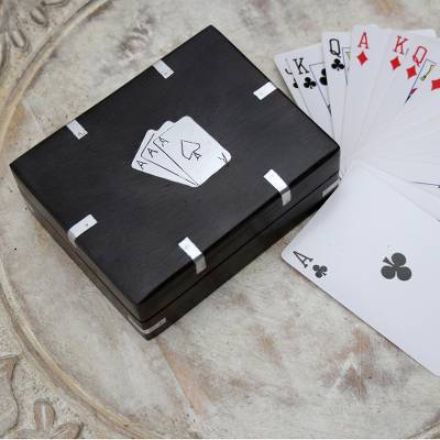 Card Deck with Handcrafted Wood Box from India