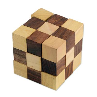 Handcrafted Cube-Shaped Wood Puzzle from India