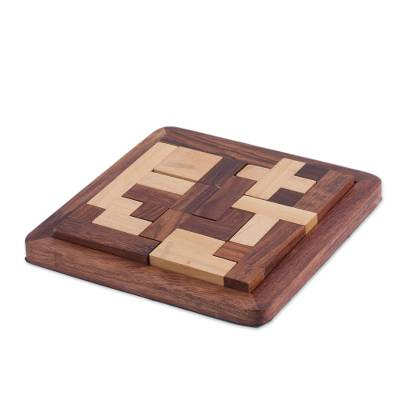 Handcrafted Wood Puzzle in Brown and Beige from India