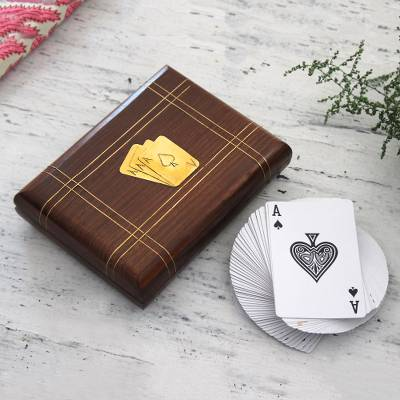Card decks with wood box, 'Gaming Duo' - Two Card Decks with Handcrafted Wood Box from India