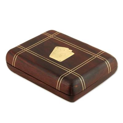 Two Card Decks with Handcrafted Wood Box from India
