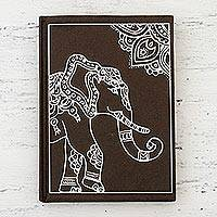 Handmade paper journal, 'Royal Gajraj' - India Elephant-Themed Handmade Paper Journal in Mahogany