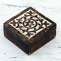Wood decorative box, 'Floral Circle' - Handcrafted Square Mango Wood Decorative Box from India