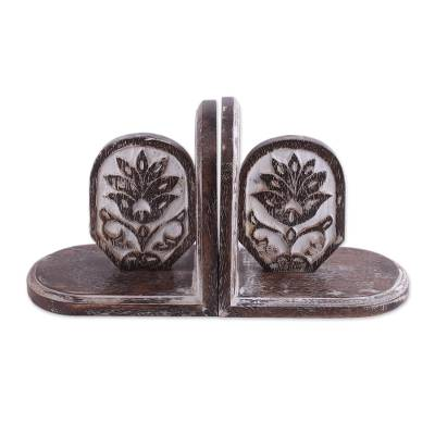 Handcrafted Floral Mango Wood Bookends from India