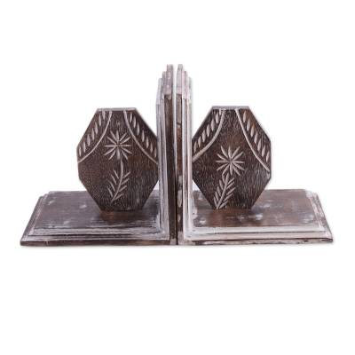 Hand Carved Floral Mango Wood Bookends from India