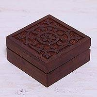 Wood decorative box, 'Daffodils' - Hand-Carved Floral Wood Decorative Box from India