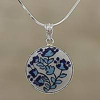 Ceramic pendant necklace, 'Blossom Dance' - Floral Sterling Silver and Ceramic Necklace from India