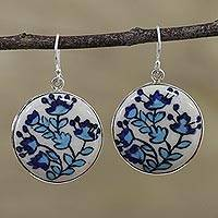 Ceramic dangle earrings, 'Blossom Dance' - Hand-Painted Floral Sterling Silver Earrings from India