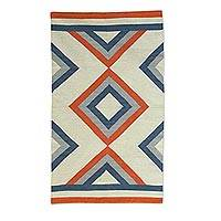 Wool dhurrie rug, 'Geometric Trance' (3x5) - Diamond Motif Handwoven Wool Area Rug (3x5) from India