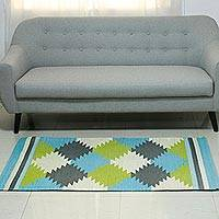 Wool area rug, 'Geometric Tessellations' (3x5) - Square Motif Handwoven Wool Area Rug (3x5) from India
