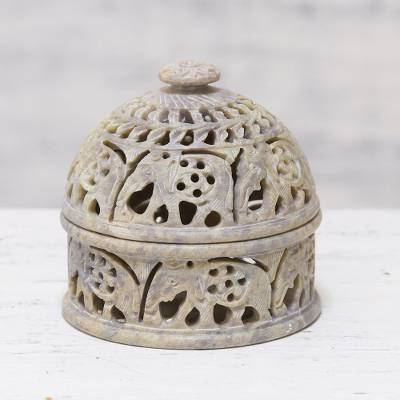 Soapstone decorative jar, 'Elephant Alliance' - Elephant-Themed Soapstone Decorative Jar from India