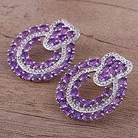 Rhodium plated amethyst drop earrings, 'Lavender Rings' - Rhodium Plated Amethyst Drop Earrings from India