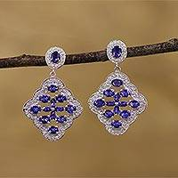 Rhodium plated iolite and topaz dangle earrings, 'Majestic Sparkle' - Rhodium Plated Iolite and Topaz Dangle Earrings from India