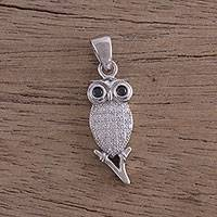 Cubic zirconia pendant, 'Twilight Owl' - Sterling Silver Cubic Zirconia Owl Pendant from India
