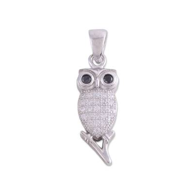 Sterling Silver Cubic Zirconia Owl Pendant from India