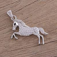 Cubic zirconia pendant, 'Canter' - Sterling Silver Cubic Zirconia Horse Pendant from India