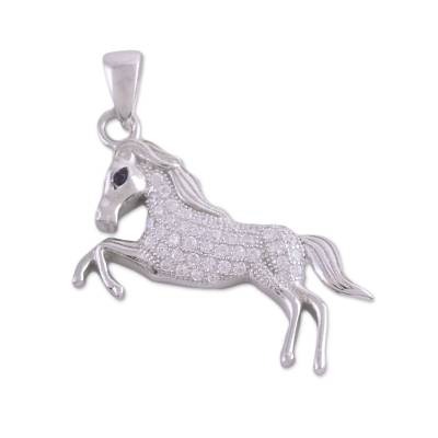 Sterling Silver Cubic Zirconia Horse Pendant from India