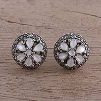 Moonstone button earrings, 'Beautiful Windmills' - Natural Moonstone and Silver Button Earrings from India