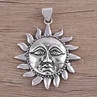 Sterling silver pendant, 'Sun God Surya' - Sterling Silver Hindu Sun Pendant from India