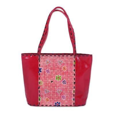 Handcrafted Floral Batik Leather Tote in Crimson from India
