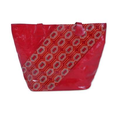 Handcrafted Batik Leather Tote in Crimson from India