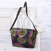 Batik leather sling, 'Circular Blast' - Handcrafted Batik Leather Sling Handbag from India