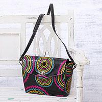 Batik leather sling,