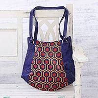 Batik leather tote, 'Geometric Hive' - Handcrafted Batik Leather Tote in Lapis from India