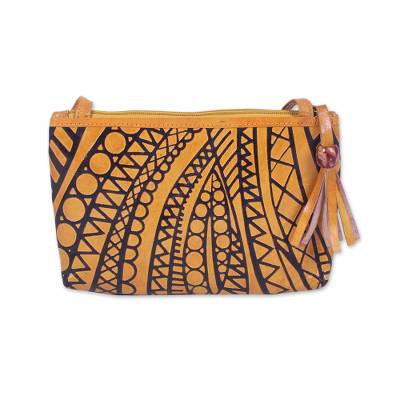 Batik Leather Sling Baguette in Goldenrod from India