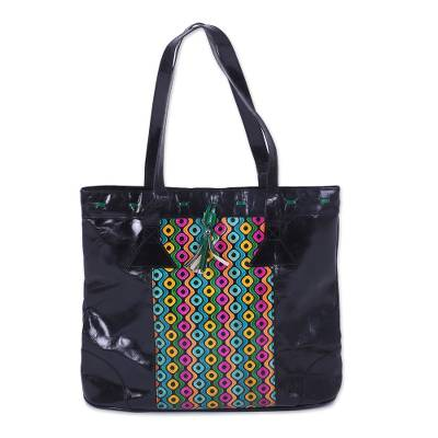 Handcrafted Colorful Batik Leather Tote from India
