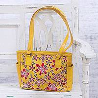 Batik leather handbag, 'Goldenrod Garden' - Floral Batik Leather Handbag in Goldenrod from India