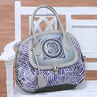 Batik leather accent cotton bowling bag, 'Trendy Batik' - Batik Leather Accent Cotton Bowling Bag from India