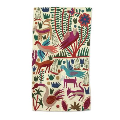 Wool chain stitch area rug, 'The Jungle World II' - Chain-Stitched Animal-Themed Wool Area Rug (3x5) from India