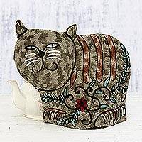 Wool tea cozy, 'Delightful Cat in Grey' - Cat-Shaped Aari Embroidered Wool Tea Cozy in Grey from India