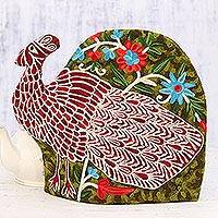 Wool tea cozy, 'Peacock Strut' - Peacock-Shaped Aari Embroidered Wool Tea Cozy from India