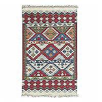 Wool dhurrie rug, 'Tribal Diamond' - Multicolored Tribal Motif Wool Dhurrie Rug