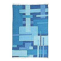 Wool dhurrie rug, 'Modern Voyage' (4x6) - Modern Abstract Design Dhurrie Rug in Blue Shades (4x6)