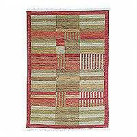 Wool dhurrie rug, 'Fertile Lands' (4x6) - Warm Multicolored Dhurrie Area Rug Woven from Wool (4x6)