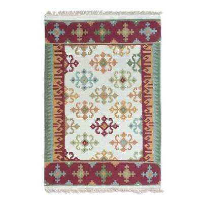 Wool area rug, 'Morning Dream' (4x6) - Handwoven Geometric Wool Area Rug (4x6) from India