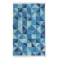 Wool area rug, 'Blue Kaleidoscopic Triangles' - Handwoven Triangle Motif Wool Area Rug in Blue from India