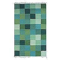 Wool area rug, 'Green Pixels' - Handwoven Square Motif Wool Area Rug in Green from India