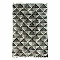 Wool area rug, 'Triangle Beauty' (4x6) - Handwoven Triangle Motif Wool Area Rug (4x6) from India