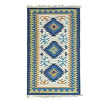 Wool area rug, 'Geometric Muse' - Handwoven Colorful Geometric Wool Area Rug from India
