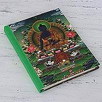 Cotton-bound journal, 'Peaceful Ambience' - Handmade Paper Journal with Buddha Motif Cover