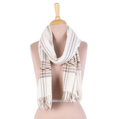 Wool blend scarf, 'Subtle' - Wool Blend Cream Subtle Brown and Grey Striped Scarf