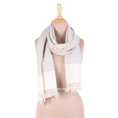 Wool blend scarf, 'Himalayan Stripes' - Hand Woven Ivory Wool Blend Striped Scarf from India