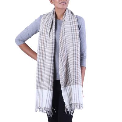 Wool blend scarf, 'Himalayan Paradise' - Wool Blend Hand Loomed Scarf from India