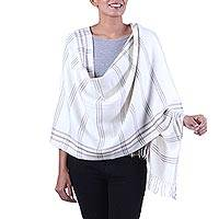 Wool blend shawl, 'Himalayan Beauty' - Hand Woven Ivory Wool Blend Striped Shawl from India