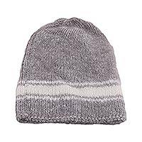 Angora wool blend knit cap, 'Comfort' - Grey with White Stripe Angora Wool Blend Knit Cap
